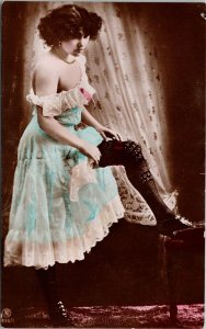 Sexy Young Woman Female Risque Pretty Blue Dress RPPC Postcard F73 *as is