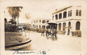 Panama City Street View Old Truck Horse & Wagon RPPC Postcard