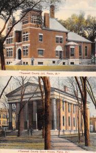 Pekin Illinois~Tazewell County Jail~Man at Corner~Split View Court House~1910