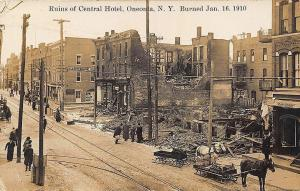 Oneonta NY Fire at Central Hotel Horse & Delivery Wagon Real Photo Postcard