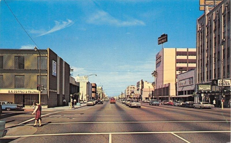 Bakersfield California~Downtown~EF Hutton~Walston & Co~Lady in Plaid~1950s Cars