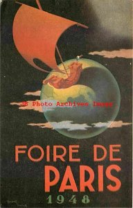 Advertising Postcard, 1948 Foire de Paris, Retail Merchant Fair, Poster Art