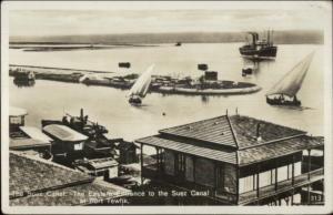 Port Tewfik Egypt Suez Canal Ships Real Photo Postcard