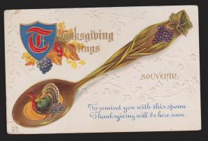 Thanksgiving Greetings - Turkey & Spoon - Used 1912 - Embossed