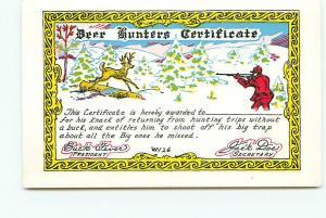 Postcard Michigan Deer Hunting Bucks Humor Cartoons Hunters  Certificat  # 2979A