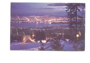 Night Cityscape from Mountain in Winter, Vancouver British Columbia, RCMP on ...