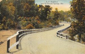 El Dorado Springs Missouri~Guard Rails Along AP Highway~1927 Postcard