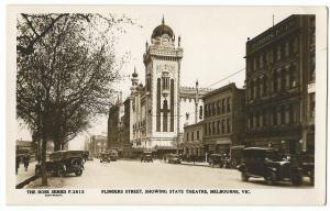 Australia; Melbourne, Flinders St Showing State Theatre RP PPC, Unposted, 1920s
