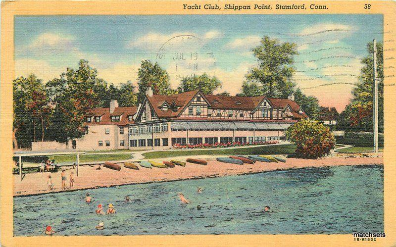 1948 Stamford Connecticut Yacht Club Shippan boats Waterfront Teich linen 7485