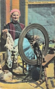 Spinning Wheel Quebec Canada Fileuse Au Rouet Yarn Woman Canada Series Postcard