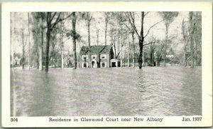 1937 New Albany, Indiana Postcard FLOOD SCENE Residence in Glenwood Court