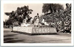 Pasadena Tournament of Roses Parade RPPC Photo Postcard SAN GABRIEL Float c1930s