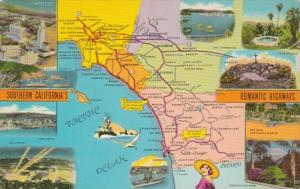 Map Of Southern California's Romantic Highways