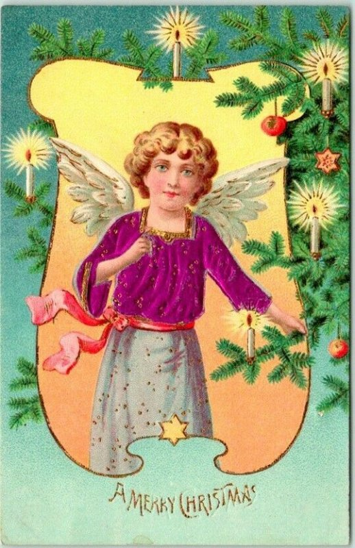 Vintage A MERRY CHRISTMAS Embossed Postcard Angel Girl / Candles / 1910 Cancel