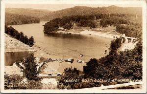 Tennessee~Norris Dam~Birdseye Tourist Boat Docking~Marina~Crowd~1940s RPPC