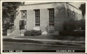 Columbus WI Post Office Real Photo Postcard rpx