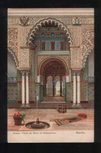 056090 SPAIN Sevilla Alcazar Vintage lithograph PC3