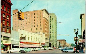 Lansing, Michigan Postcard DOWNTOWN Chrome Street Scene / 1958 Cancel