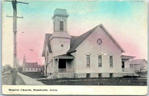 Humboldt, Iowa Postcard Baptist Church Building / Street View c1910s Unused