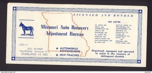 Missouri MO. USA - Missouri delinquent chattels, donkey map named towns BLOTTER