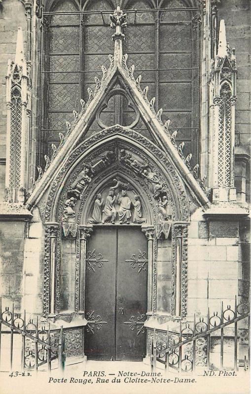 Notre Dame Red Door Porte Rouge Rue Du Cloitze Paris France Postcard