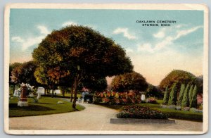 Sturgis Michigan~Autumn Shade Trees, Flower Bed @ Oaklawn Cemetery 1920s
