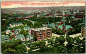 Lincoln, Nebraska Postcard Bird's-Eye View from Capitol Dome 1910 Cancel