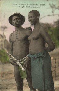 PC CPA ETHNIC NUDE FEMALE AND MALE MANKAIGNE TYPE, SENEGAL Postcard (b5412)