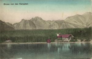 ukraine russia, CARPATHIANS KARPATEN Карпати, House at Lake (1910s) Postcard
