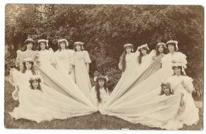 Group of Young Women in Costume RP PPC Possibly Actresses?