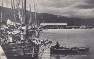 Harbor Scene, Row Boat, Sailing Vessel, Port Au Prince, Haiti, 20-30s