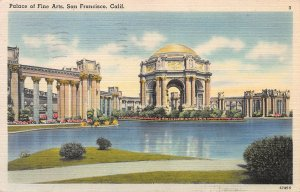 Palace of Fine Arts, San Francisco, California, Early Postcard, Used in 1948