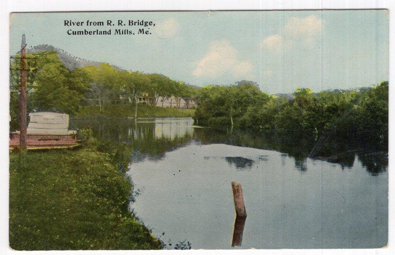 Cumberland Mills, Me, River from R. R. Bridge