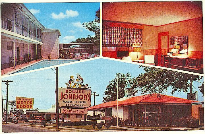 Statesboro GA Motor Lodge Interior View Howard Johnson's Ice Cream Postcard