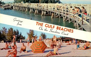 Florida Greetings From The Gulf Beaches Showing Fishing Pier