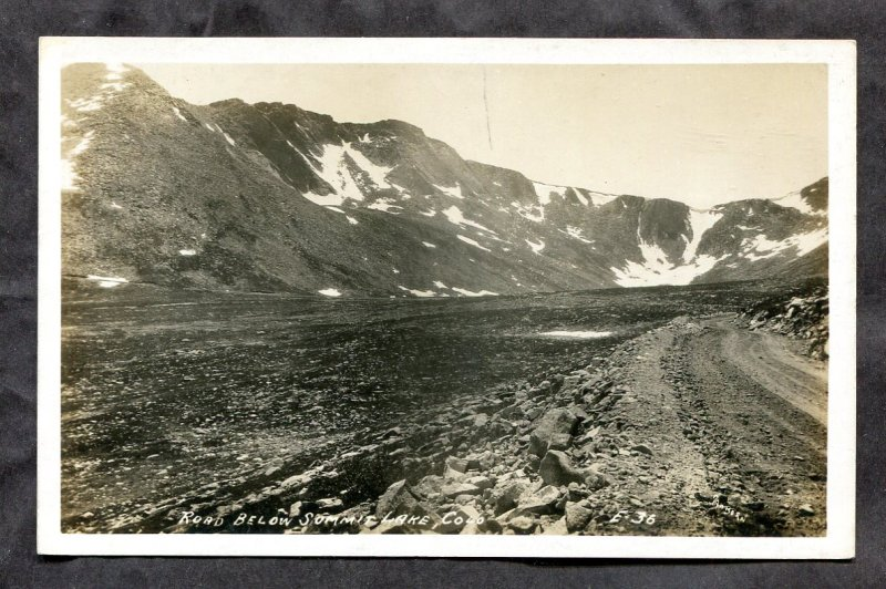dc320 - Road Below SUMMIT LAKE Colorado 1940s Real Photo Postcard