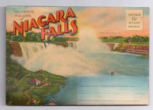 Greetings Niagara Falls Souvenir Folder 20 Views Linen