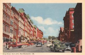 Saint John NB Canada~King Street~1940s Cars & Pick Up Trucks~Litho Postcard