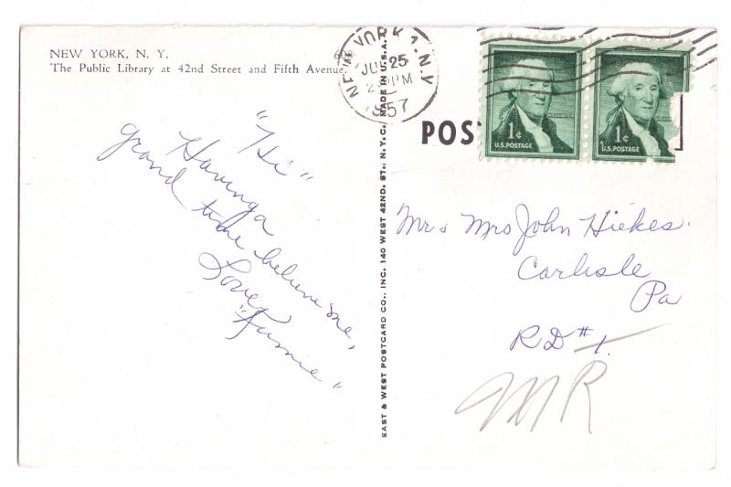 Public Library New York NY Vintage 1957 Postcard