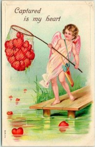 1910s VALENTINE'S DAY Greetings Postcard Cupid Angel Fishing for Red Hearts