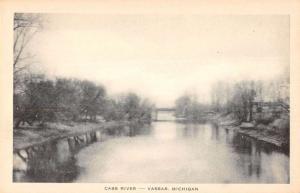 Vassar Michigan birds eye view Cass River and bridge antique pc Z40231