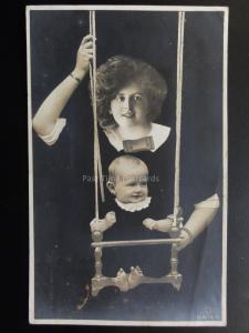 ROTARY ILLUSION SERIES Mother Pushing Child on Swing c1915 RP Postcard