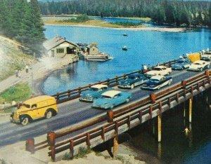 Classic Cars Bridge Yellowstone National Park Lake Chrome Vintage Postcard