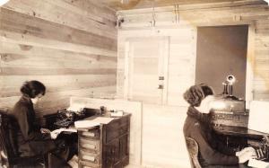 Secretaries~Bare Bulb Office~Typewriters~Candlestick Telephone~Switch~1918 RPPC