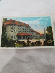 Antique postcard East Entrance, Grove Park Inn, Asheville, NC.