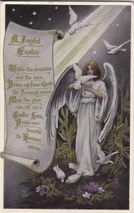 EASTER : Angel & white doves , PU-1910 ; TUCK #3637