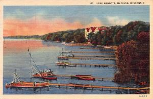 Lake Mendota, Madison, Wisconsin, Early Postcard, Used in 1950