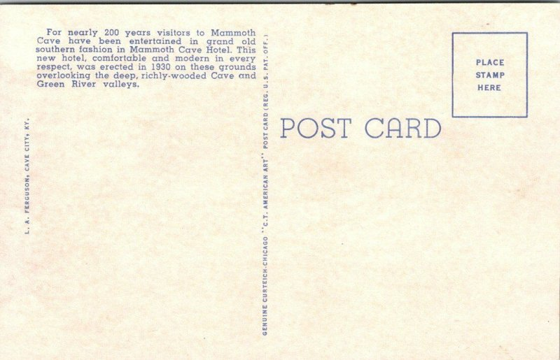 VTG Postcard Mammoth Cave Hotel Kentucky 1953 Green River Valley Unposted   208