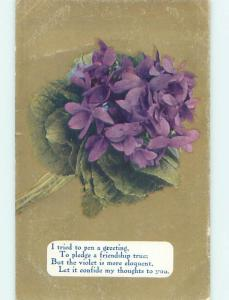 Unused Divided-Back BOUQUET OF BEAUTIFUL VIOLET FLOWERS o9707