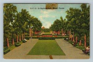 Miami FL-Florida, Scenic Bayfront Park, Palm Tree Walkway, Linen c1948Postcard